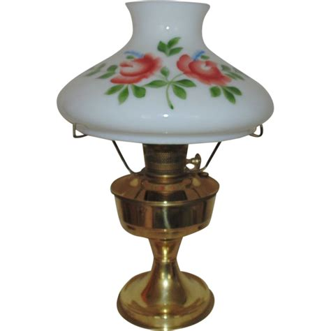 23 brass l kerosene w painted roses glass shade from coyotemoonantiques on
