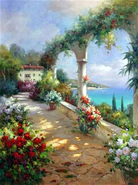 Mediterranean Garden Oil Painting,oil Painting On Canvas