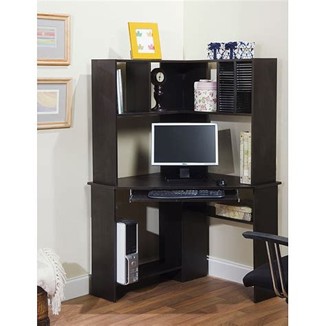 Black Corner Computer Desk by Corner Computer Desk And Hutch Black Oak Walmart