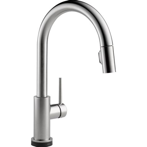 delta trinsic single handle two function pull out spray with touch2o kitchen faucet arctic
