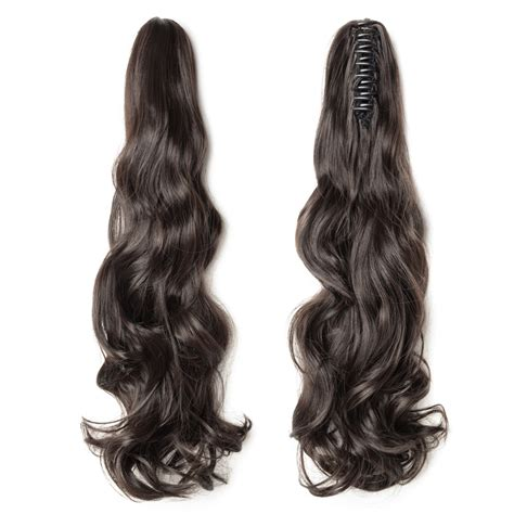 """18"""" 145g #4 Dark Brown Curly Synthetic Claw Clip In Ponytail"""