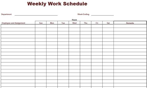 employee roster template retail 9 best images of free printable weekly work schedule