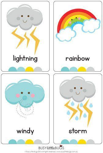 Weather Flash Cards  KépekÉvszakok, Időjárás  Pinterest  Weather, English And Activities