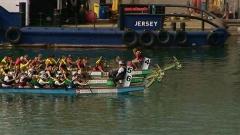 Jersey Hospice Dragon Boat Racing by Splash Paddle And Boom Channel Itv News