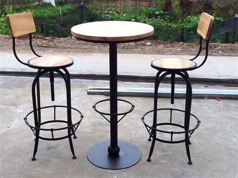 table de bar fer forge et bois