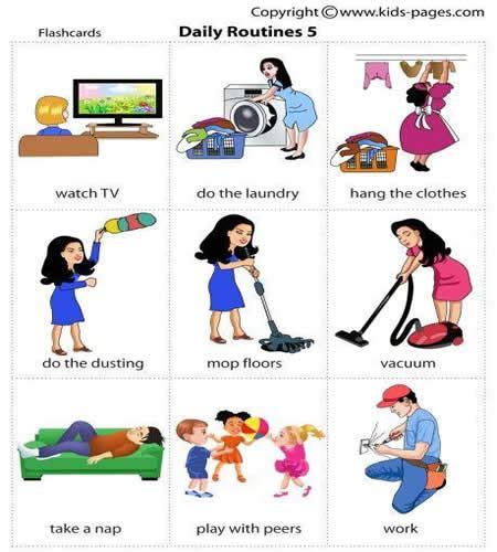 Daily Routines Vocabulary  Vocabulary Home