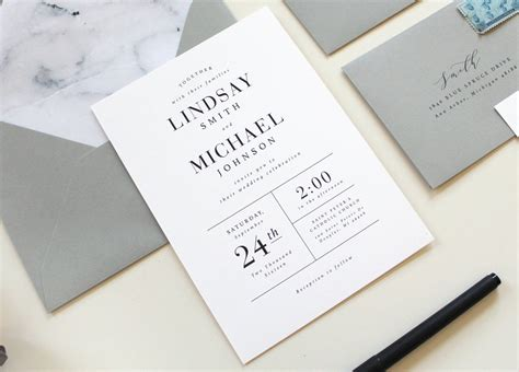 modern wedding invitations modern marble wedding invitation