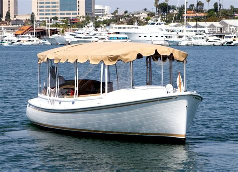 Round Electric Boat by Balboa Island Duffy Boat Rental