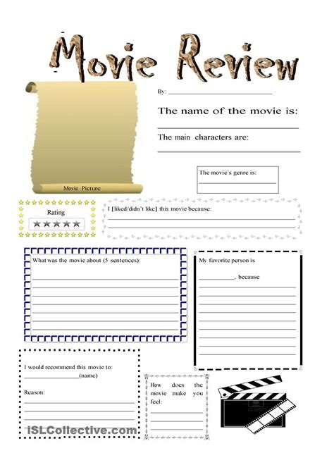 Movie Review  Clases  Pinterest  Movie, English And Worksheets