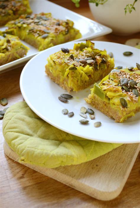 tarte moelleuse poireaux flocons d avoine vegan green