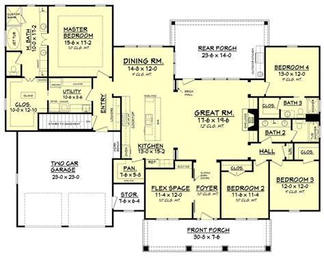 style house plan 3 beds 2 baths 2630 sq ft plan craftsman style house plan 4 beds 3 baths 2639 sq ft