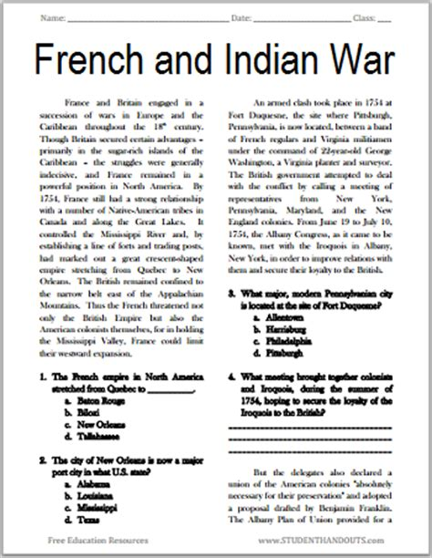 The French And Indian War  Free Printable American History Reading With Questions