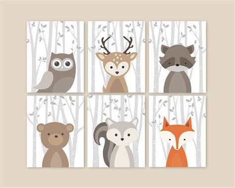 Forest Animals, Birch Branches Animal Nursery Art Prints Woodland Nursery Decor, Baby Room Decor Home Store Curtains Sew Lined Wood Curtain Rod Set To Buy Sheer Pocket Height Above Window Triple Navy Bedroom