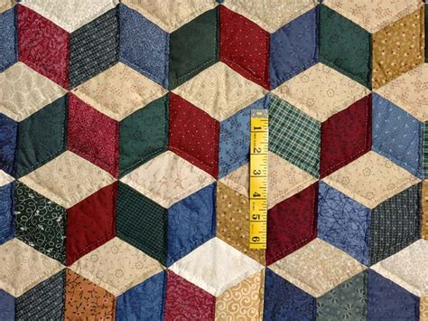 Tumbling Block Quilt Pattern Template by Blue And Multicolor King Tumbling Blocks Quilt Photo 4
