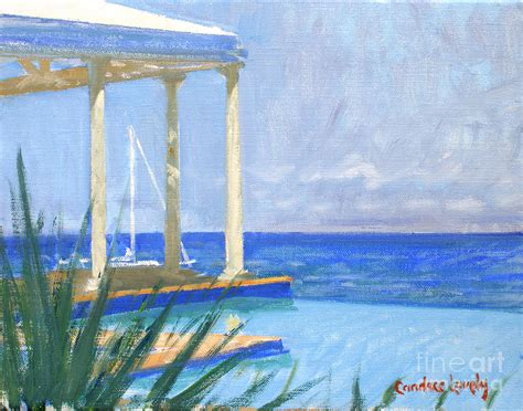 pool cabana morning painting by lovely