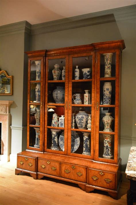 18th century inverted breakfront veneered walnut china cabinet for sale at 1stdibs
