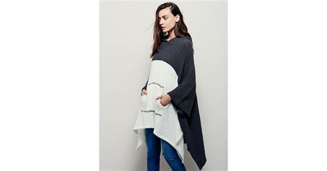 Free People Womens Brookside Hooded Poncho In Gray (grey / Ivory)