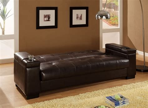 dreamfurniture 300143 faux leather convertible sofa sleeper with storage