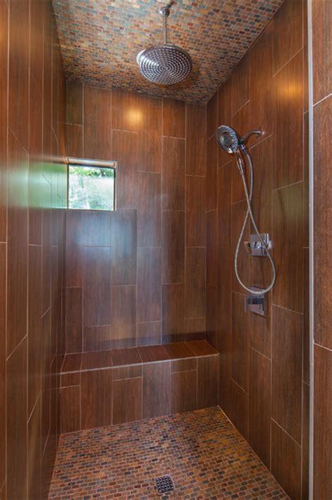 Master shower wood look ceramic tile Lake Travis
