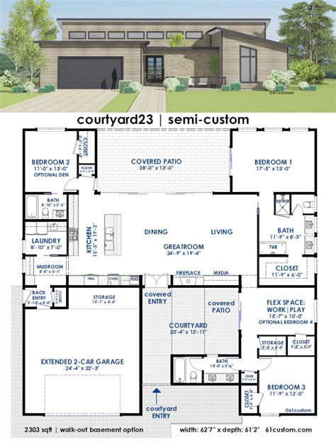 contemporary side courtyard house plan 61custom courtyard23 semi custom home plan 61custom