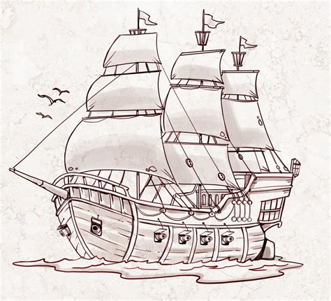 Medieval Boat Drawing by Simple Drawing Of A Ship Simple Pirate Ship Drawing