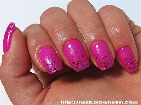 Fuchsia Nails With Glitter