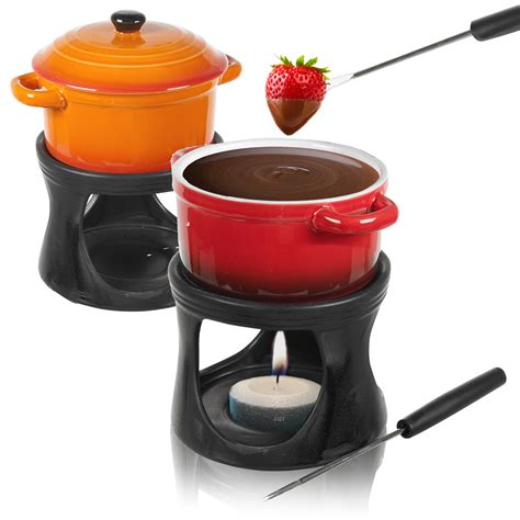ceramic chocolate or cheese fondue set with 2 stainless steel forks kitchen home ebay