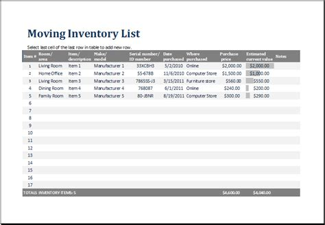 Ms Excel Printable Moving Inventory List Template
