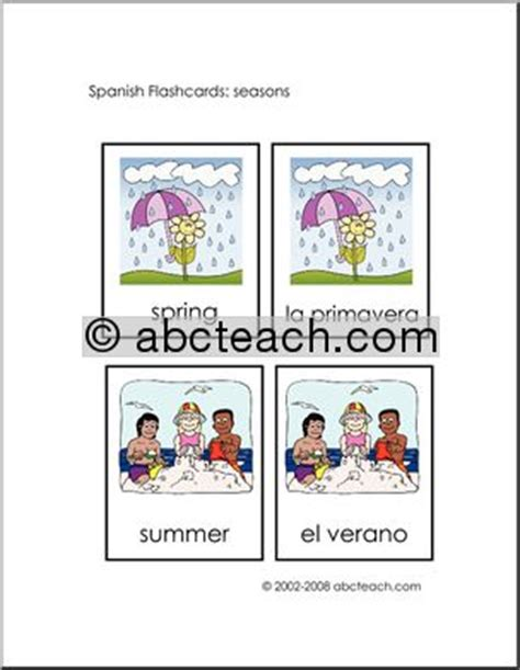 Spanish Flashcards Seasons Abcteach