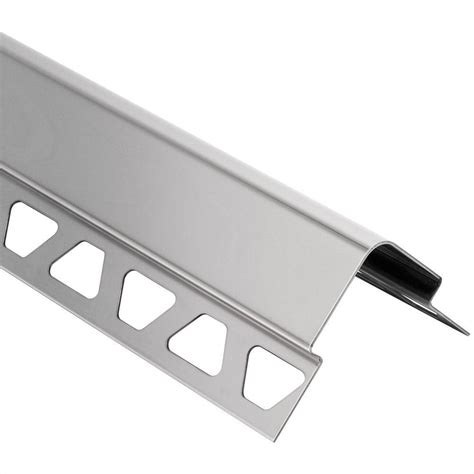 schluter eck e stainless steel 7 16 in x 4 ft 11 in metal corner tile edging trim e37v2a110