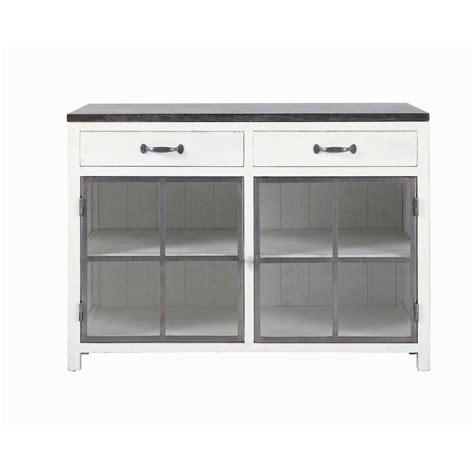 meuble bas vitr 233 de cuisine en bois recycl 233 et blanc l 120 cm ostende maisons du monde