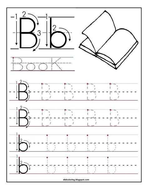 Free Printable Worksheet Letter B For Your Child To Learn And Write  Didi Coloring Page