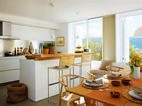 Cozy Kitchen With A Mini Bar And A Corner Dining Zone