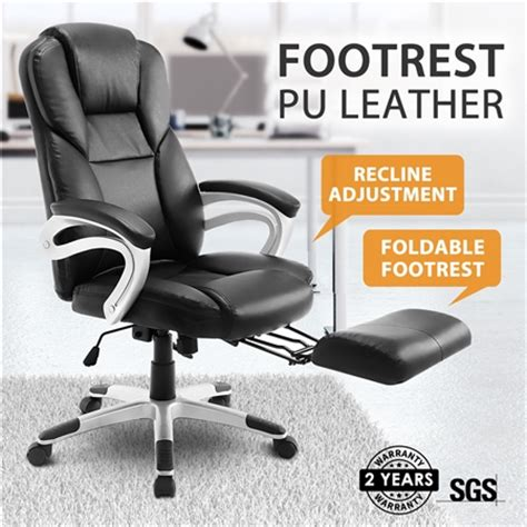 Cing Chair With Footrest Australia by New Executive Office Computer Chair Pu Armchair Footrest