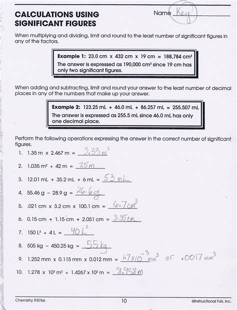 Significant Figures Calculations Worksheet Key  Download Them And Try To Solve
