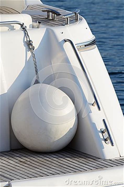 Round Boat Fenders by White Round Boat Fenders For Motor Yacht Stock Photo