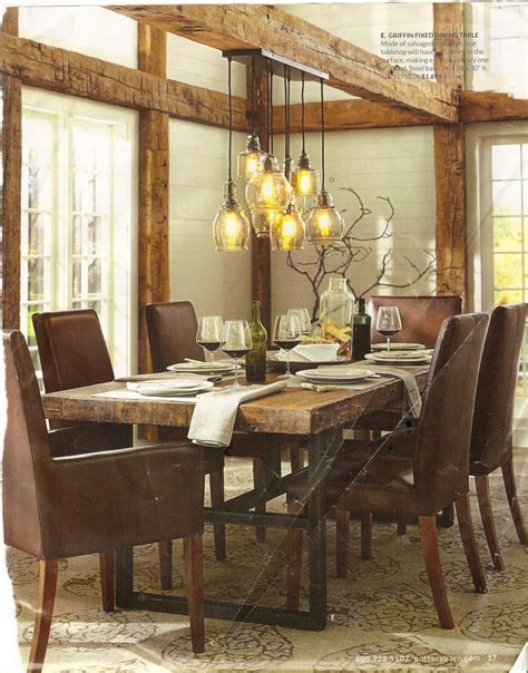 image of dining hanging lights rustic dining room