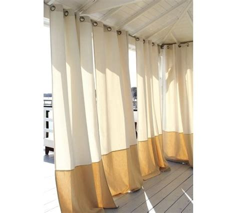 outdoor banded drapes pottery barn outdoor living