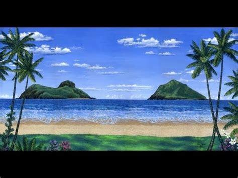 comment peindre une plage tropicale et des 238 les en utilisant l acrylique sur toile