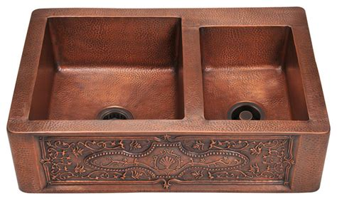 Mr Direct 911 Double Copper Apron Sink, 2 Copper Strainers