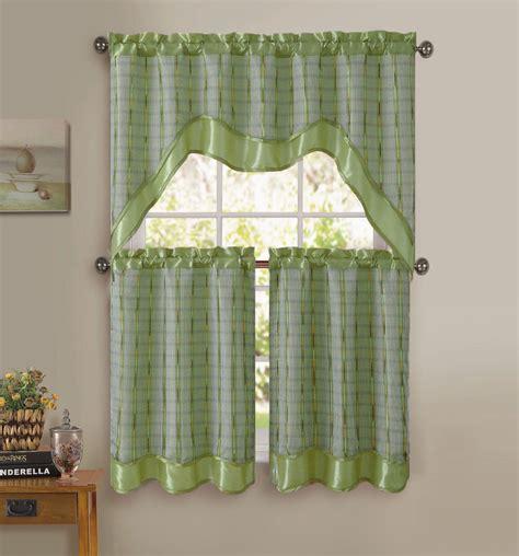 Sage Green 3pc Kitchen Window Curtain Set Doublelayer