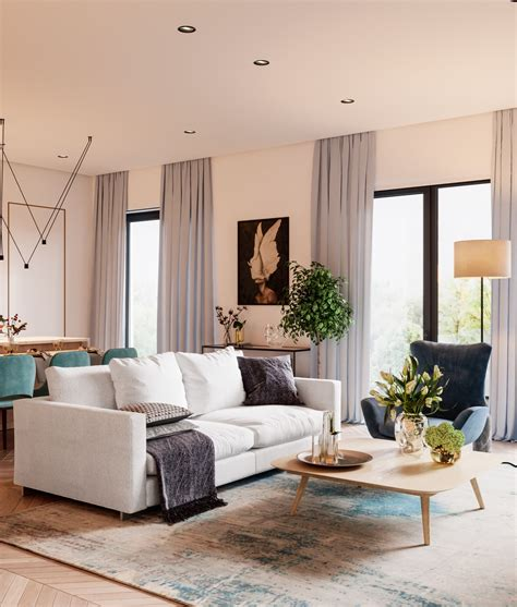 Restful Interior With Blue & Brass Accents Running Through