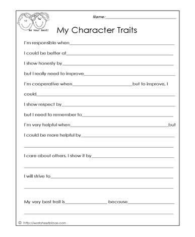 My Character Traits Social Skills Worksheets Therapy