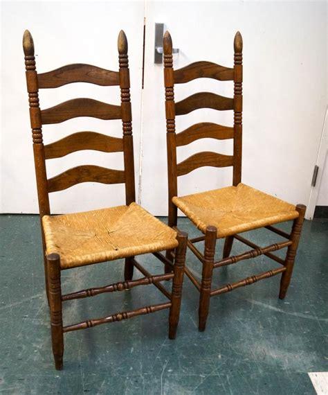 set 4 oak ladder back seat chairs