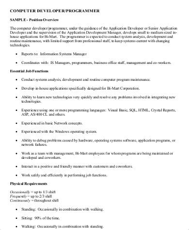 11+ Sample Computer Programmer Job Description  Pdf, Word. What To Put Under Education On Resume. Telemetry Rn Resume. Resume Landscaping. Example For Resume Title. Resume Designs In Word. Best Resume Books. Good Sales Resume Examples. How Do You Spell Job Resume