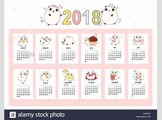 Calendar 2018 Vector Stock Photos & Calendar 2018 Vector