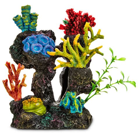 imagitarium coral reef with silk plants aquarium ornament petco