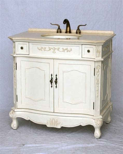 36 quot inch bathroom vanity antique white distressed color free shipping traditional bathroom