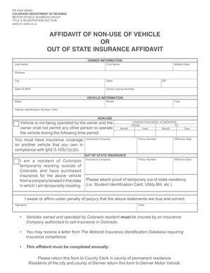 colorado dmv non resident form bill of sale form colorado non use of vehicle or out of