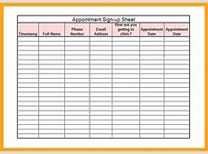 Appointment Sheet Template Gallery Template Design Ideas